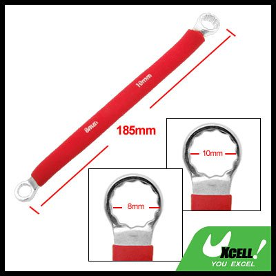 Red Soft Grip Double Side 8mm 10mm Offset Box End 12 Point Wrench Tool