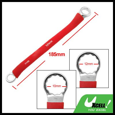 Red Soft Grip Double Side 10mm 12mm Offset Box End 12 Point Wrench Tool