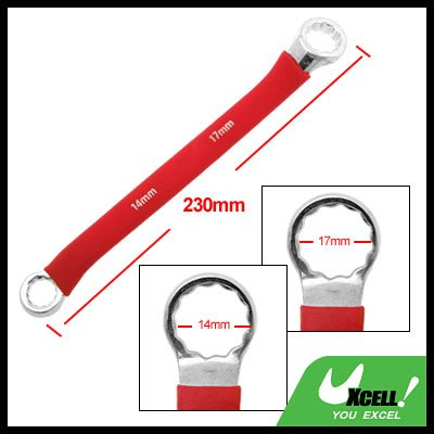 Box End 14mm 17mm Double Side Red Soft Grip Offset 12 Point Wrench Tool