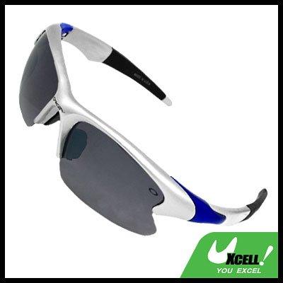 Wrap Around Black Lens Silvery Frame Sport Sunglasses