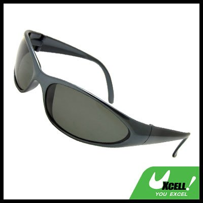 Polarized Sports Driving Sunglasses Oval Lens and Charcoal Grey Frame