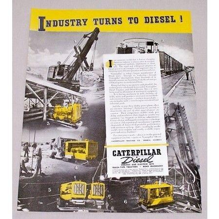 1940 Caterpillar Diesel Construction Equipment Color Print Ad