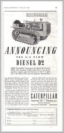 1938 Caterpillar Cat 3-4 Plow Diesel D2 Tractor Print Ad