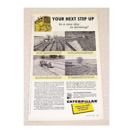 1957 Caterpillar Track Tractors Farm Print Ad