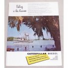 1949 Caterpillar Diesel Color Print Ad - Fishing Is Her Business