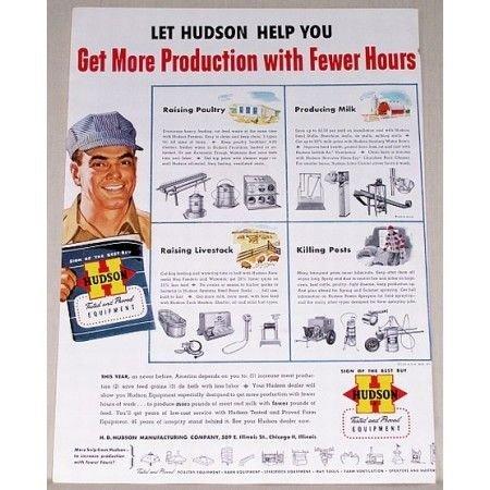 1951 Hudson Farm Equipment Color Print Ad