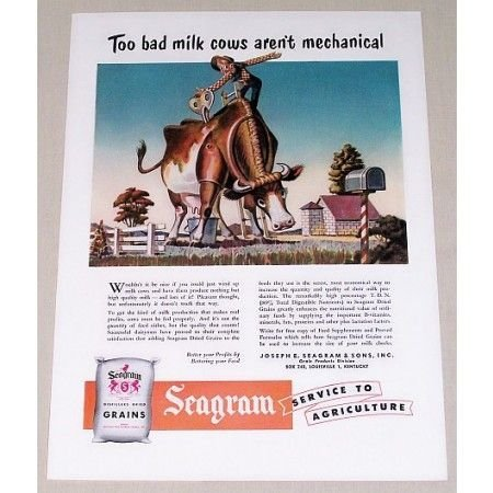 1951 Seagram Distillers Dried Grains Feed Milk Cow Art Color Print Ad