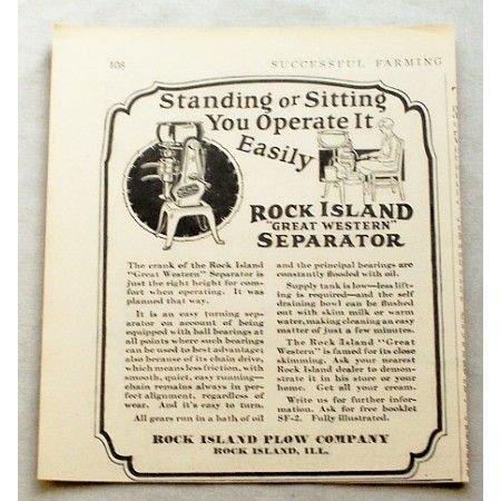1929 Rock Island Great Western Cream Separator Print Ad