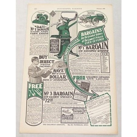 1929 Galloway Co. Ad Masterpiece Cream Sepatator Print Ad