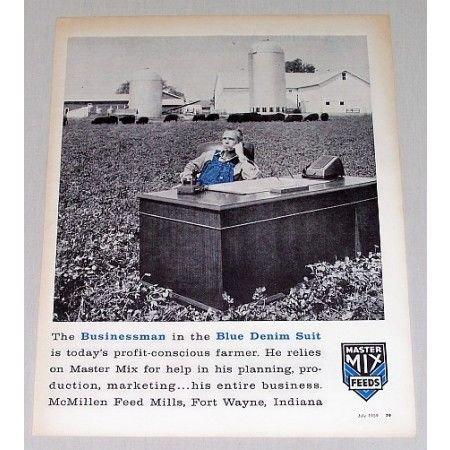 1959 Master Mix Feeds Farm Print Ad - Blue Denim Suit