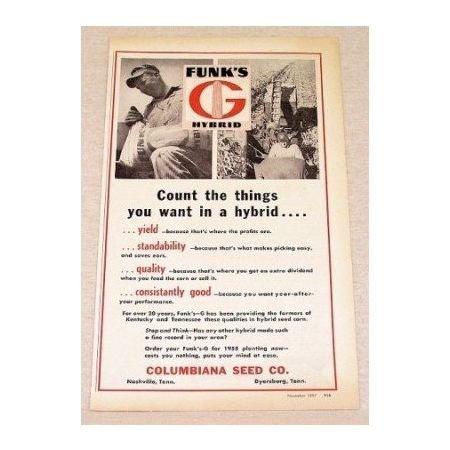 1957 Funk's Hybrid Seed Print Ad