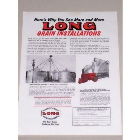 1967 Long Sales and Service Grain Equipment Color Print Ad