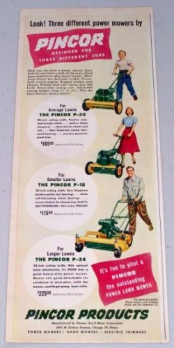 1949 Pincor P-18 P-20 P-24 Power Lawn Mowers Color Print Ad