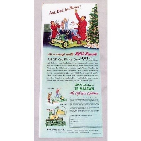 1949 Reo Royale Power Mower Color Print Ad
