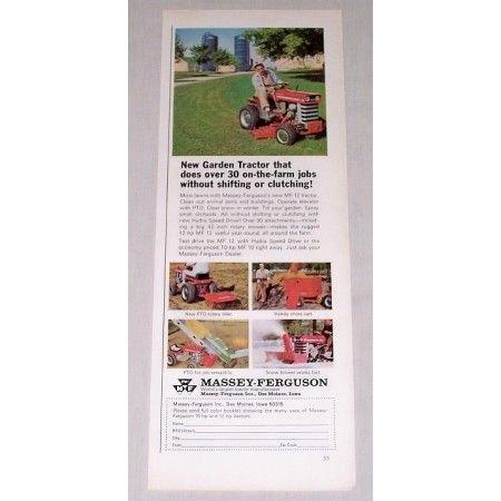 1967 Massey Ferguson 12 Lawn Garden Tractor Color Print Ad