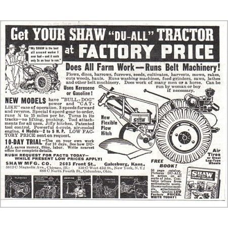 1938 Shaw Du-All Garden Tiller Tractor Print Ad