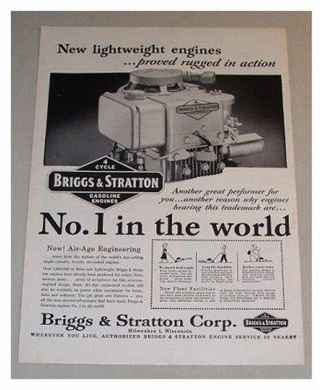 1955 Briggs & Stratton 4 Cycle Gasoline Engine Print Ad
