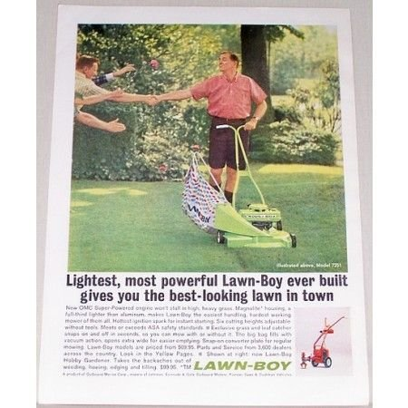 1962 Lawn Boy Model 7251 Power Push Mower Color Print Ad