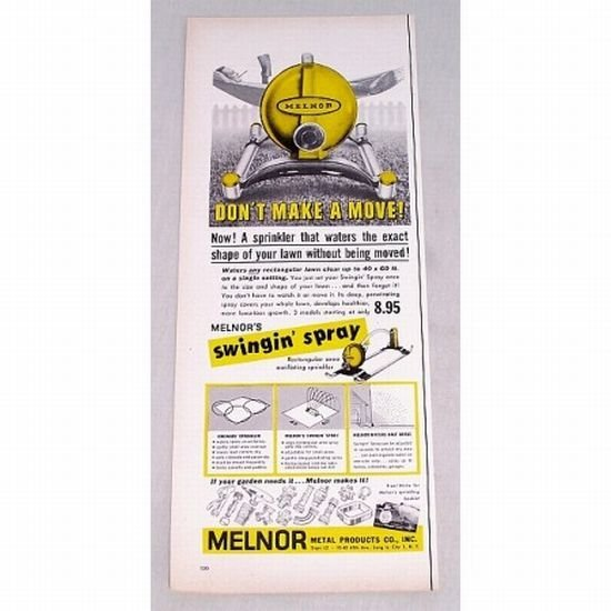 1956 Melnor's Swingin Spray Oscillating Sprinkler Color Print Ad