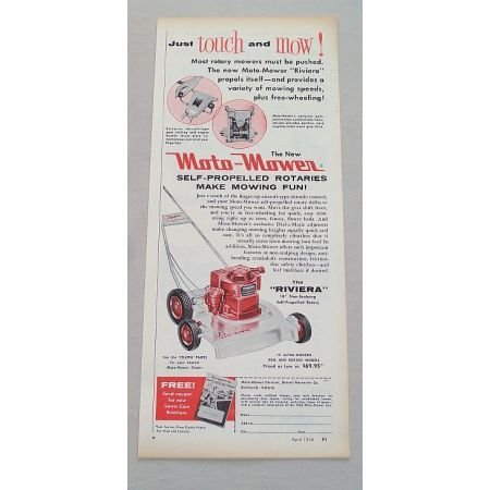 1956 Moto Mower The Riviera Power Push Mower Color Print Ad