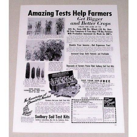 1952 Sudbury Soil Tester Kit Print Ad