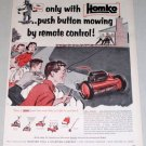 1954 Homko 20 Electric Robot Remote Power Mower Art Color Print Ad