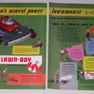 "1953 RPM Lawn Boy 18"" Rotary Power Mower 2 Page Color Print Ad"
