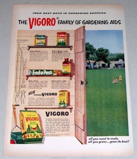 1953 Vigoro Gardening Aids Supplies Color Print Ad