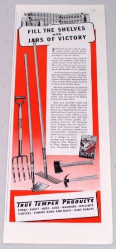 1943 True Temper Products Hay Fork Rake Hoe Hatchet Hammer Vintage Color Tools Print Ad