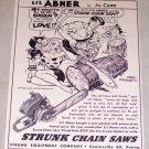 1953 Strunk Chain Saws LI'L ABNER Al Capp Art Print Ad