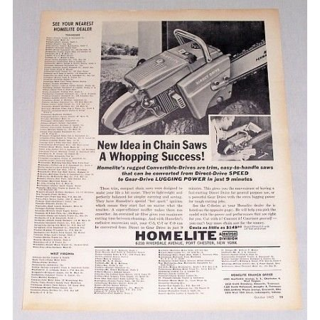 1963 Homelite Direct Drive Chain Saw Print Ad