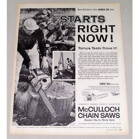 1959 McCulloch Number One Chain Saw Print Ad