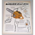 1956 McCullock D-44 Direct Drive Chain Saw Color Print Ad