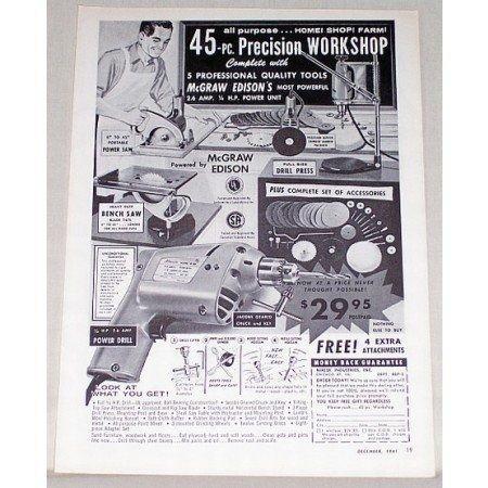 1961 McGraw Edison Precision Workshop Tools Print Ad