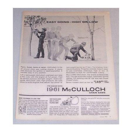 1961 McCULLOCK Chain Saw Print Ad