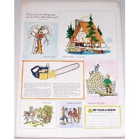 1956 McCullock Chain Saw Color Art Print Ad