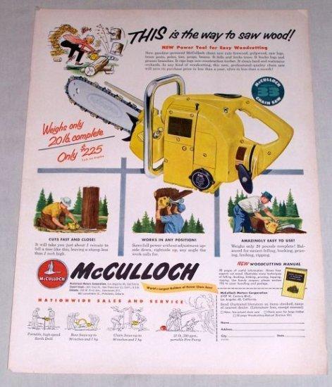 1953 McCulloch Model 33 Chain Saw Color Print Ad