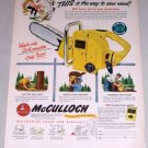 1953 McCulloch Model 33 Chain Saw Color Print Ad