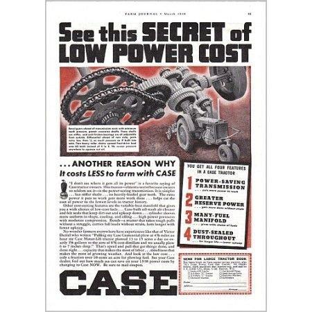 1938 Case Farm Tractor Color Print Ad