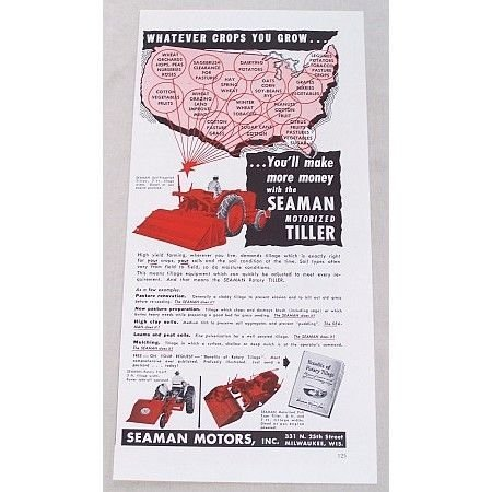 1952 Seaman 7ft Motorized Rotory Tiller Color Print Ad