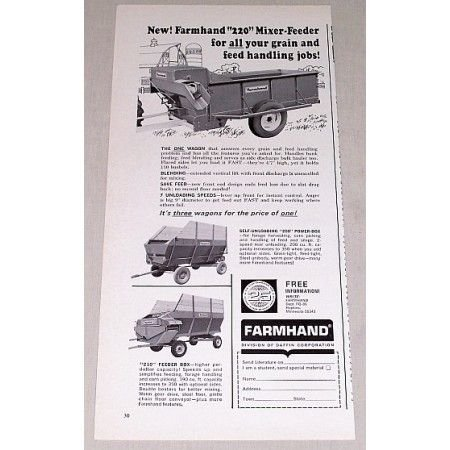 1966 Farmhand 220 Mixer Feeder Wagon Print Ad
