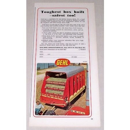 1967 Gehl Forage Wagon Box Color Print Ad