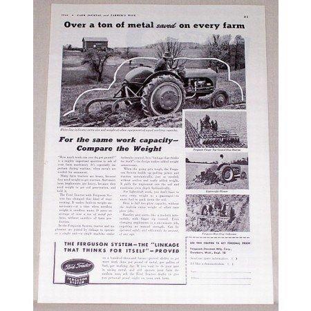 1942 Ford Tractor Ferguson System Print Ad