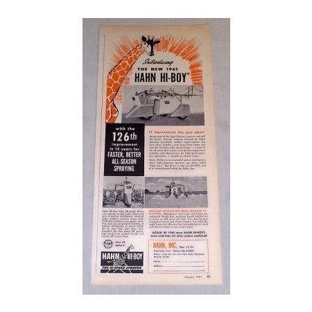 1961 Hahn Hi-Boy High Clearance Sprayer Print Ad