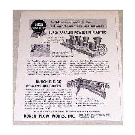 1961 Burch Parrallel Power Lift Planters Print Ad