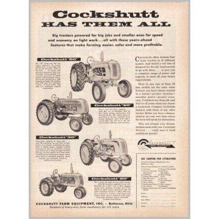 1953 Cockshutt Tractors Farm Equipment 4 Models Print Ad