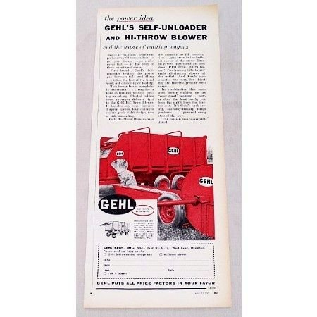 1959 Gehl Forage Self-Unloader And Blower Print Ad