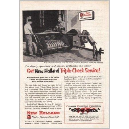 1954 New Holland Square Hay Baler Farm Print Ad