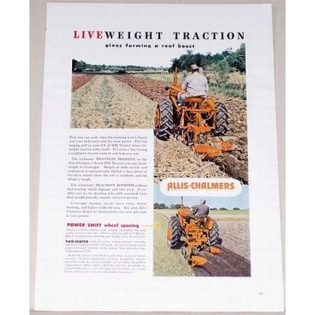 1951 Allis Chalmers CA WD Farm Tractor Color Print Ad
