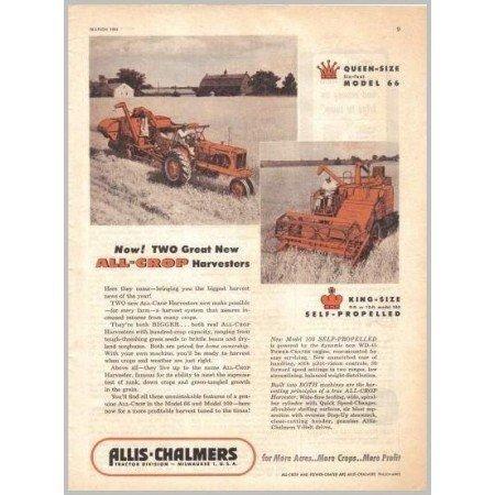 1954 Allis Chalmers 66 100 All Crop Harvesters Color Print Ad
